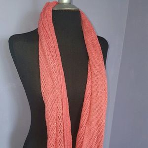 Steve Madden Knit Infinity Scarf Coral/Gold OS